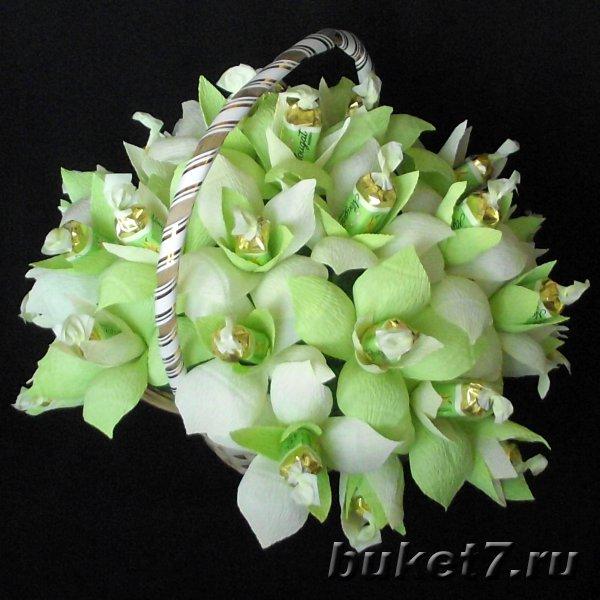 Фото: Букеты с розами и орхидеями