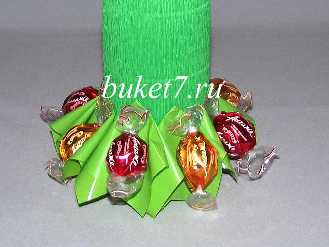 Елки из конфет с шампанским мастер класс