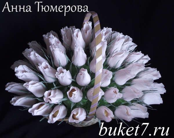 Цветы в корзине своими руками из бумаги