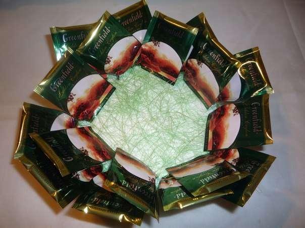 Чайно-конфетный букет МК фото 4