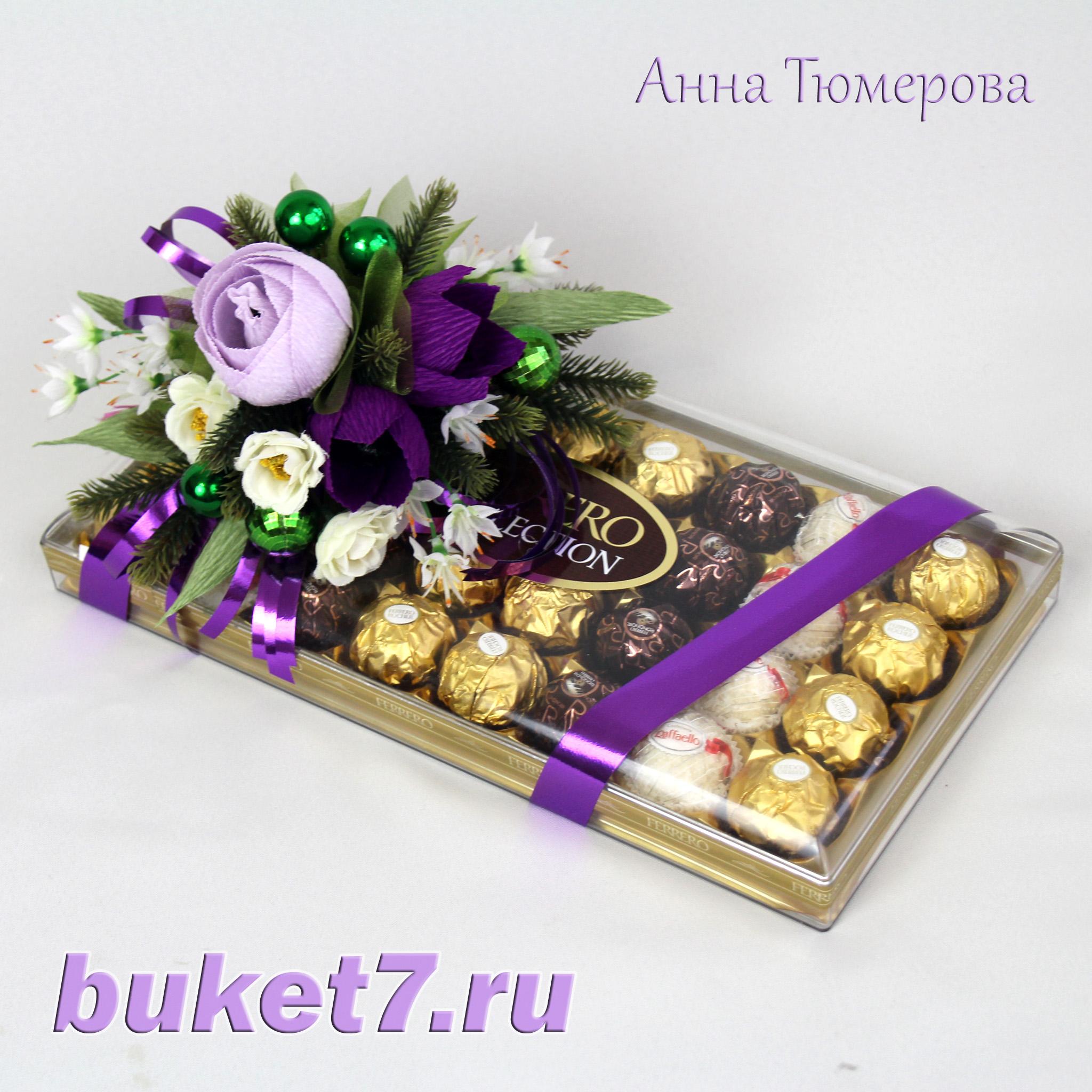 Красиво оформить подарок из конфет 70