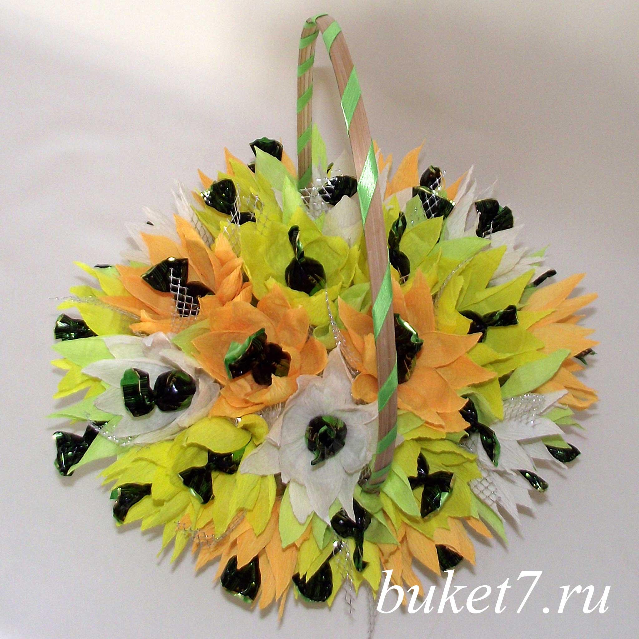 Как сделать корзину с конфетами и цветами