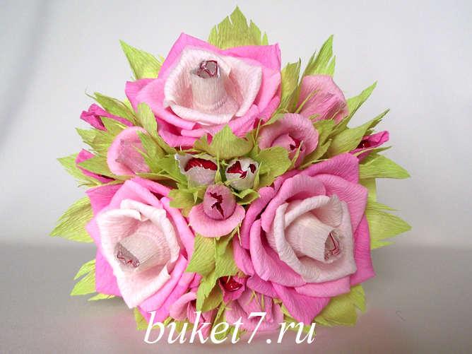 Цветы с конфетами из гофрированной бумаги мастер класс