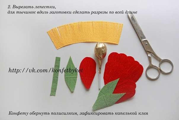 Цветы из бумаги из чупа чупсов