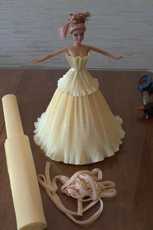Платья для кукол из бумаги своими руками