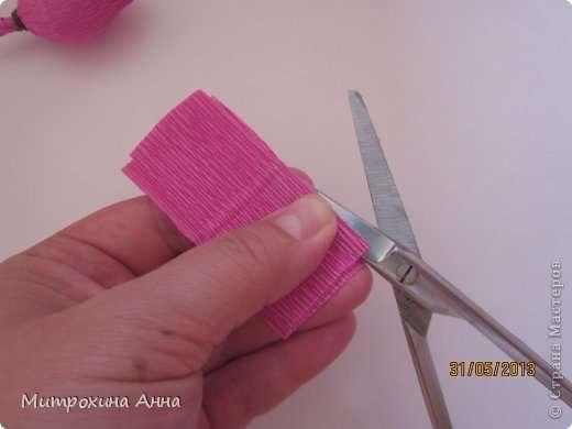 Как сделать английскую розу из гофрированной бумаги Шаг 11