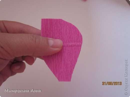 Как сделать английскую розу из гофрированной бумаги Шаг 4