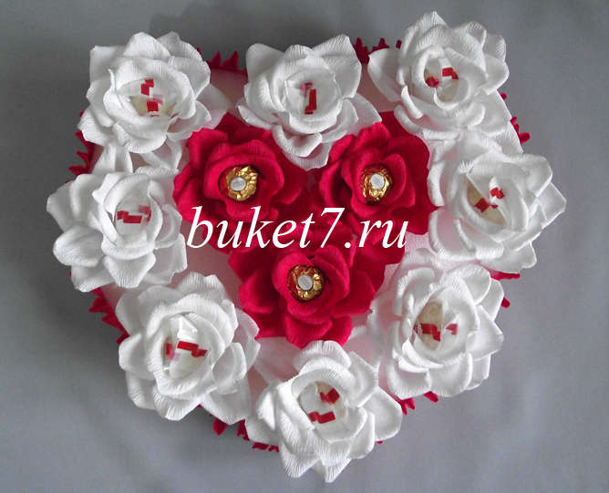 Сердце из конфет МК19